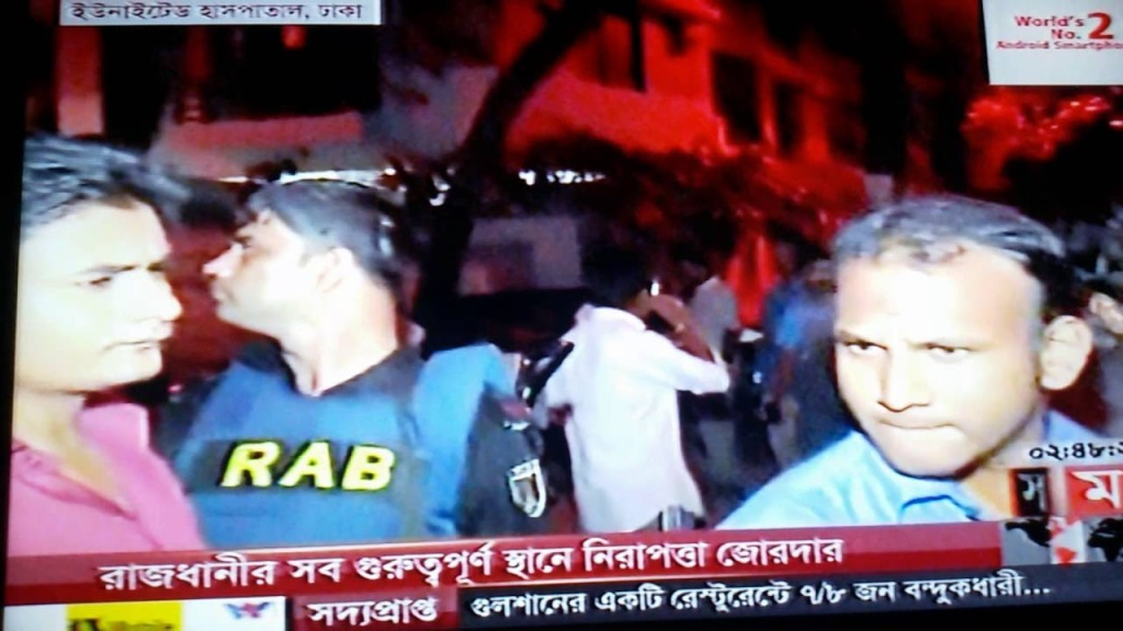 News coverage of the attack in the Gulshan neighborhood of Dhaka. Source: Creative Commons