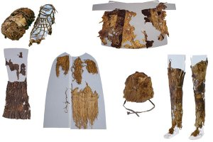 Ötzi's clothing included items made from animal hides as well as grass cape. Source: Institute for Mummies and the Iceman
