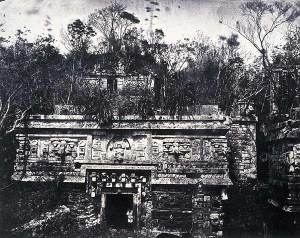 Chichen Itza in 1859-1860 before vegetation was removed. Source: Wikipedia